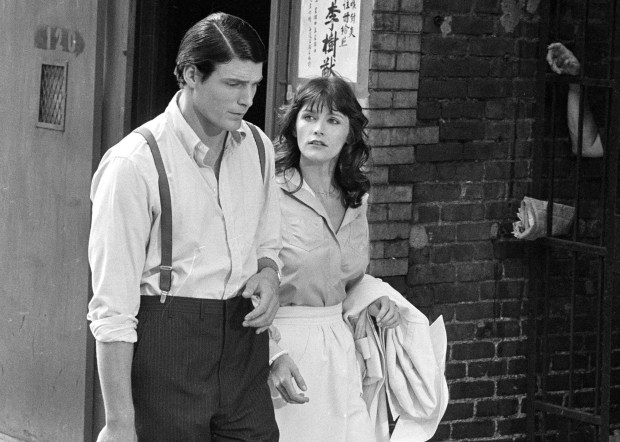"1997: Christopher Reeve and Margot Kidder in a production still from ""Superman."" (AP Photo, File)"