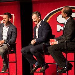 49ers Camping Chair Massager Amazon Eye Super Bowl As Training Camp Opens San Francisco Head Coach Kyle Shanahan Left General Manager John Lynch Center Talk In Front Of A Crown At The Teams State Franchise Event