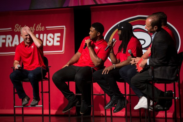 From left, San Francisco 49ers' Robbie Gould, DeForest Buckner, Richard Sherman and Joe Staley share stories on stage during the State of the Franchise event at the California Theater in San Jose, Calif., on Wednesday, May 23, 2018. (Randy Vazquez/ Bay Area News Group)