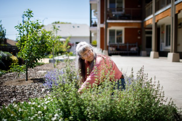 A resident at a co-housing community in Mountain View Patricia Ann Boomer smiles at a fellow resident while working on the community's garden on May 2, 2018. Boomer is one of four residents who maintain the garden in this one-acre senior housing community, where 27 residents live. (Dai Sugano/Bay Area News Group)