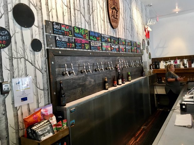 As you contemplate the taps at Tahoe's Alibi Ale Works, don't miss theflagship pale ale and oak-fermented Berliner Weisse plum-apricot sour. (Courtesy of Allen Pierleoni)
