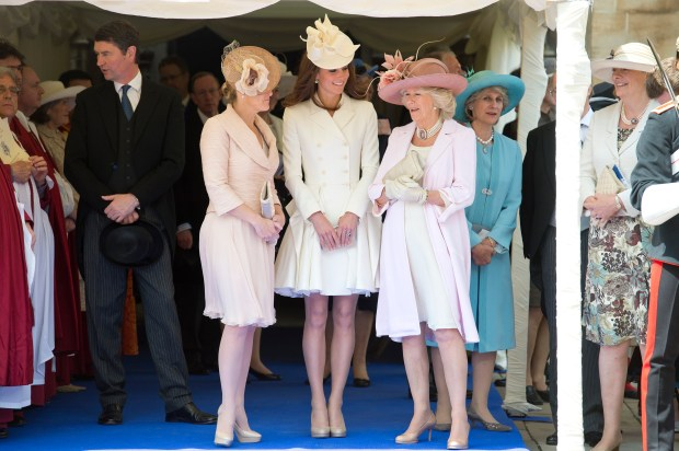 WINDSOR, ENGLAND - JUNE 18: (L-R) Sophie Rhys-Jones, Countess of Wessex, Catherine, Duchess of Cambridge and Camilla, Duchess of Cornwall attend the annual Order of the Garter Service at St George's Chapel, Windsor Castle on June 18, 2011 in Windsor, England. The Order of the Garter is the senior and oldest British Order of Chivalry, founded by Edward III in 1348. Membership in the order is limited to the sovereign, the Prince of Wales, and no more than twenty-four members. (Photo by Paul Edwards - WPA Pool/Getty Images)