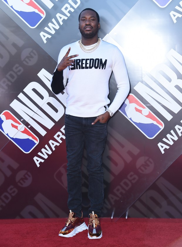 Meek Mill arrives at the NBA Awards on Monday, June 25, 2018, at the Barker Hangar in Santa Monica, Calif. (Photo by Richard Shotwell/Invision/AP)