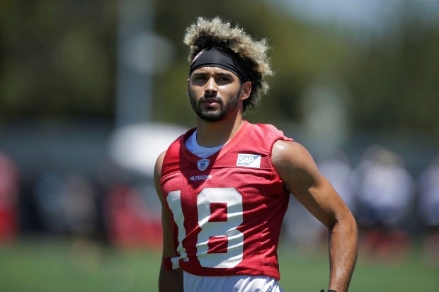 San Francisco 49ers' wide receiver Dante Pettis (18) runs during San Francisco 49ers mini-camp at their practice facility in Santa Clara, Calif., on Wednesday, June 13, 2018. (Randy Vazquez/ Bay Area News Group)