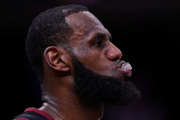 Cleveland Cavaliers' LeBron James (23) reacts during the final seconds of the fourth quarter of Game 3 of the NBA Finals at Quicken Loans Arena in Cleveland, Ohio, on Wednesday, June 6, 2018. The Golden State Warriors defeated the Cleveland Cavaliers110-102. (Jose Carlos Fajardo/Bay Area News Group)