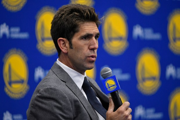 Golden State Warriors general manager Bob Myers speaks to the media about their 28th overall pick in the first round of the 2018 NBA Draft during a press conference held at Rakuten Performance Center in Oakland, Calif., on Thursday, June 21, 2018. The Warriors selected University of Cincinnati's Jacob Evans. (Jose Carlos Fajardo/Bay Area News Group)