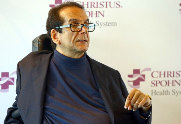 FILE - In this March 31, 2015 file photo,  Charles Krauthammer talks about getting into politics during a news conference in Corpus Christi, Texas on March 31, 2015.   The Fox News contributor and syndicated columnist says he has ìonly a few weeks to liveî because of an aggressive form of cancer. Krauthammer disclosed his doctorsí prognosis in a letter released Friday, June 8, 2018  to colleagues, friends and viewers. Krauthammer wrote that he underwent surgery in August to remove a cancerous tumor in his abdomen.   (Gabe Hernandez/Corpus Christi Caller-Times via AP)