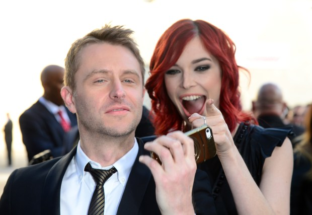 "CULVER CITY, CA - JUNE 07: TV personality Chris Hardwick (L) and actress Chloe Dykstra attend Spike TV's ""Guys Choice 2014"" at Sony Pictures Studios on June 7, 2014 in Culver City, California. (Photo by Frazer Harrison/Getty Images for Spike TV)"