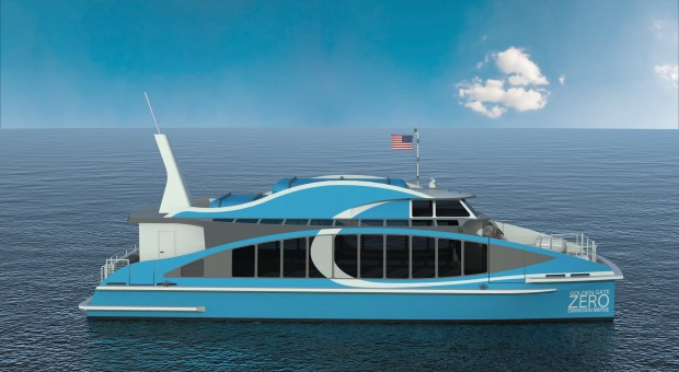 "The ""Water-Go-Round"" will be the first passenger ferry powered with hydrogen fuel, a new technology to significantly reduce greenhouse emissions from the maritime industry. (Rendering courtesy Courtesy Golden Gate Zero Emission Marine Project)"