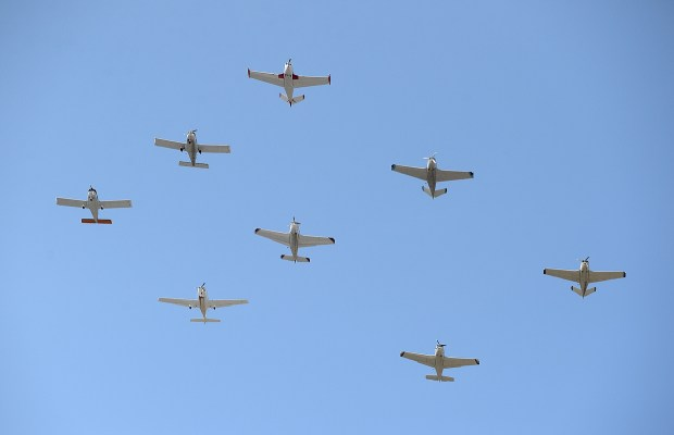 Planes fly over the parade route at the Fourth of July parade in Fremont, Calif., on Thursday, July 4, 2013. The parade featured more than 70 entries. (Dan Honda/Bay Area News Group archive)