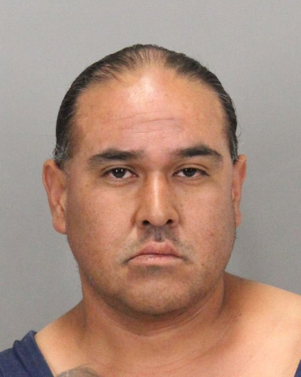 Milpitas police said they arrested George Robert Pacheco II, a 43-year-oldSan Jose man, who they said broke the glass entry doors to two stores in one shopping center last month. (Photo courtesy Milpitas Police Department)