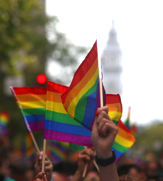 Marchers wave rainbow flags as they walk along Market Street during the 45th annual San Francisco Pride Celebration and Parade on Sunday, June 28, 2015, in San Francisco, Calif. (Aric Crabb/Bay Area News Group)