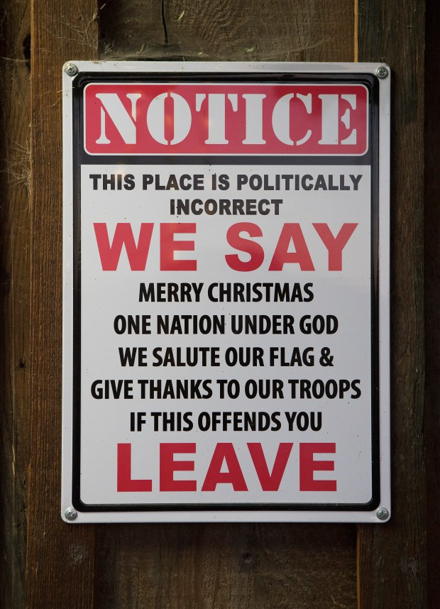 "A sign stating the establishment is ""politically incorrect"" is posted near the front door of the Panoche Inn, in Panoche (San Benito County), California on Wednesday, June 13, 2018. The Inn lies near the border of the proposed three Californias: Northern California (Merced County), California (San Benito County), and Southern California (Fresno County) (LiPo Ching/Bay Area News Group)"
