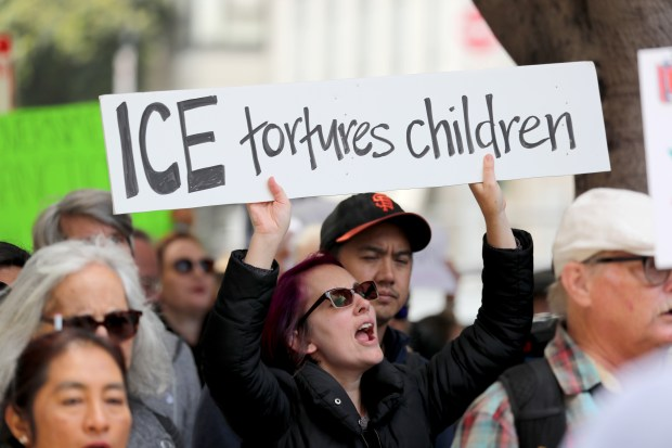 Jessica Redford, of San Francisco, chants during a protest outside ICE headquarters in San Francisco, Calif., on Tuesday, June 19, 2018. The protest is in response to the Trump's administration of separating children from their parents who are detained after trying to cross into the United States at the Mexico border. (Ray Chavez/Bay Area News Group)