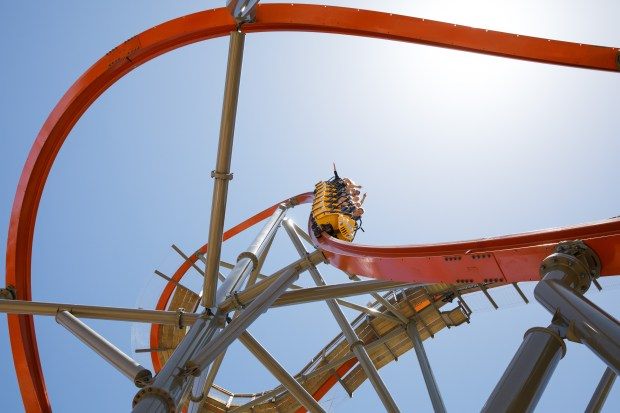 Amusement park visitors experience the 90-degree drop while riding RailBlazer, a new roller coaster at California's Great America theme park, on June 13, 2018 in Santa Clara. (Dai Sugano/Bay Area News Group)