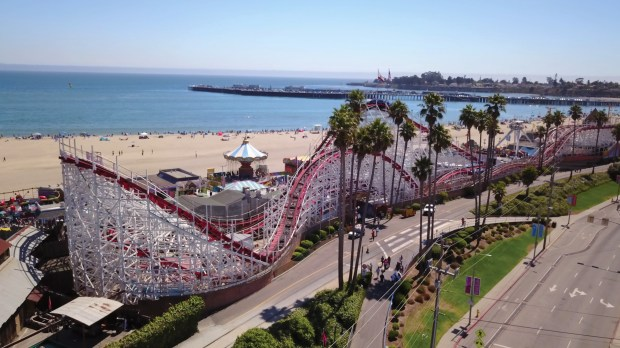 The Giant Dipper at the Santa Cruz Beach Boardwalk in Santa Cruz, California. (Santa Cruz Beach Boardwalk)