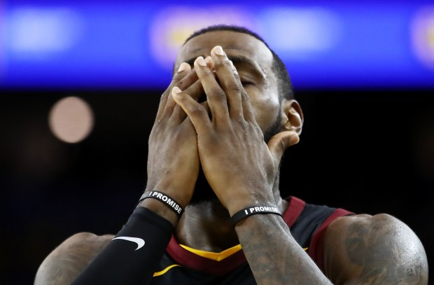 LeBron James (23) of the Cleveland Cavaliers reacts against the Golden State Warriors in Game 1 of the 2018 NBA Finals at ORACLE Arena on May 31, 2018 in Oakland, California. (Photo by Ezra Shaw/Getty Images)