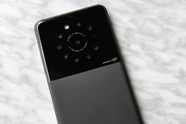 This prototype phone from a camera start-up called Light incorporates nine lenses on the back but isn't much thicker than an iPhone X. (Courtesy of Light)