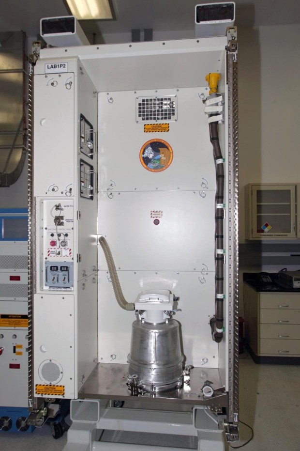 The International Space Station's toilet. MUST CREDIT: NASA.