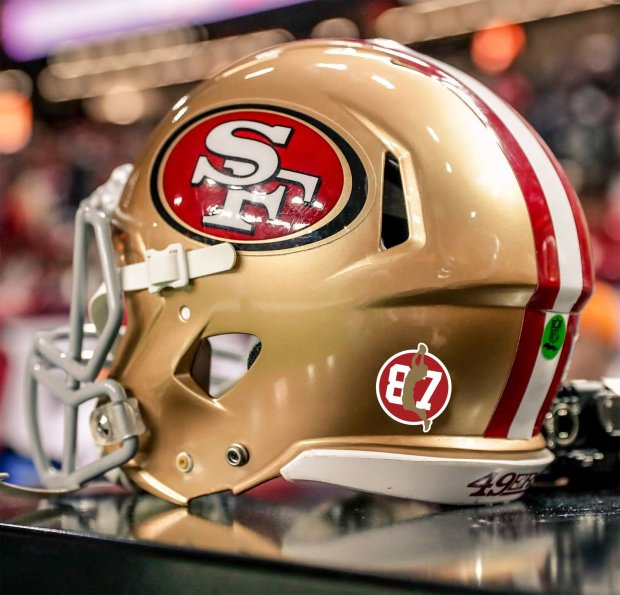 5a60c34e7 Current 49ers players will wear an  87  decal on their helmets for every  game this season in honor of Dwight Clark. (Photo courtesy  49ers)