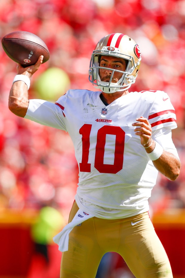 Jimmy Garoppolo #10 of the San ...