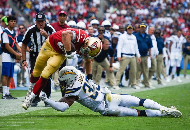 Tight end George Kittle #85 of ...