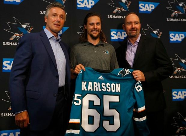 online retailer 5193e 827f4 Erik Karlsson expects smooth transition to San Jose Sharks