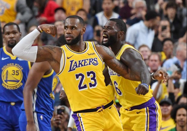 cdd78c604f9 LAS VEGAS, NEVADA – OCTOBER 10: LeBron James #23 and Lance Stephenson #6 of  the Los Angeles Lakers celebrate after James made a shot against the Golden  ...