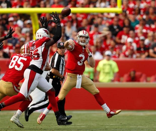 9847976fc San Francisco 49ers starting quarterback C.J. Beathard (3) throws against  the Arizona Cardinals in the second quarter at Levi s Stadium in Santa  Clara