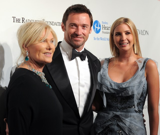 From Left Deborra Lee Furness Actor Hugh Jackman And Television Personality Ivanka Trump Attend The Ninth Annual Elton John Aids Foundation Benefit An