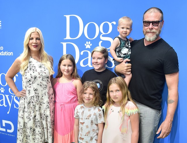 Tori Spelling Dean Mcdermott And Family Attend The Premiere Of Ld Entertainments Dog Days At Westfield Century City On August 5 2018 In Century City