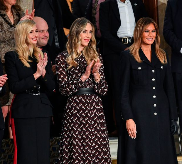 56542f787 First Lady Melania Trump, with Ivanka Trump and Lara Trump, at Donald  Trump's State of the Union address (MANDEL NGAN/AFP/Getty Images)