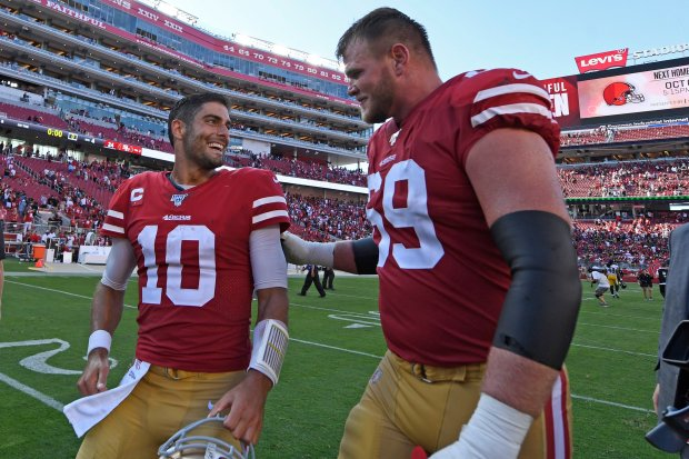 49ers' McGlinchey, Falcons' Ryan Vie For Bragging Rights