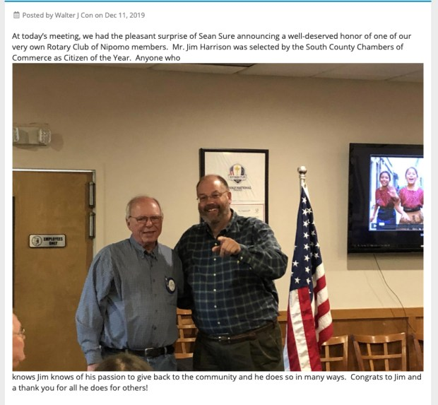 He's no longer Nipomo's Citizen of the Year because of his Facebook posts