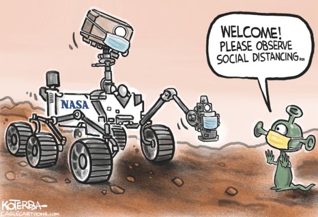 Cartoons: NASA Perseverance rover sends video from Mars landing