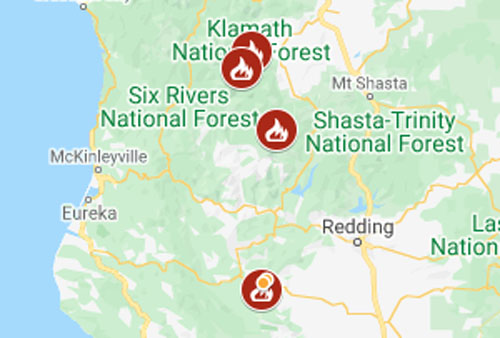 Map of the richard spring fire, 12:31 a.m. Map Wildfire Evacuations In Trinity And Siskiyou Counties