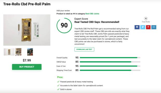 Tree Rolls CBD Pre-Roll Palm