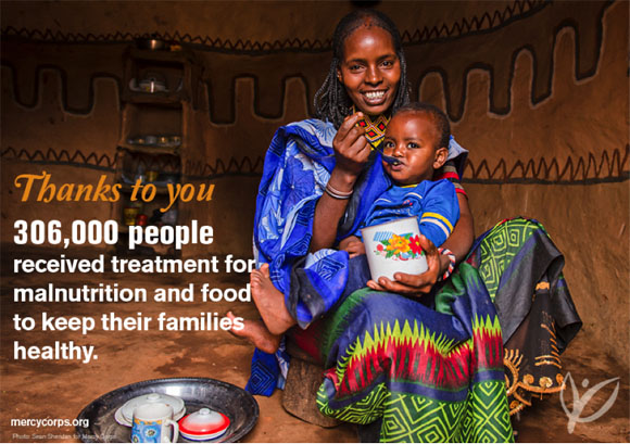 Thanks to you, 306,000 people received treatment for malnutrition and food to keep their families healthy.