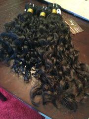 raw indian wavy curly hair. natural