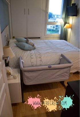 installation du berceau cododo Chicco Next2Me dans petite chambre 9m²