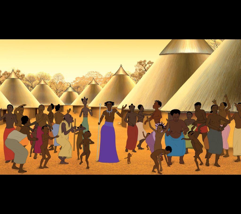 Le village de kirikou avec tous les habitants qui s'entraident