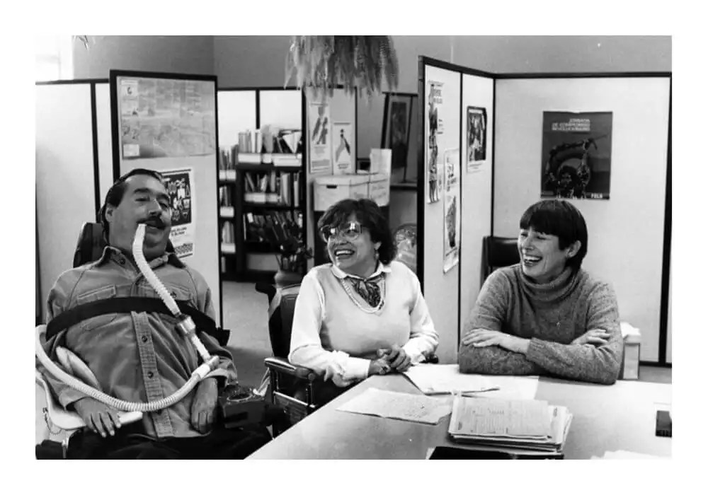 L-R: Ed Roberts, Judy Heumann and Joan Leon from the World Institute on Disability