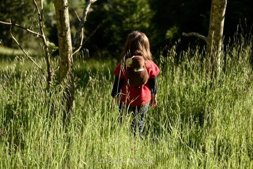child walking through grass, back to camera