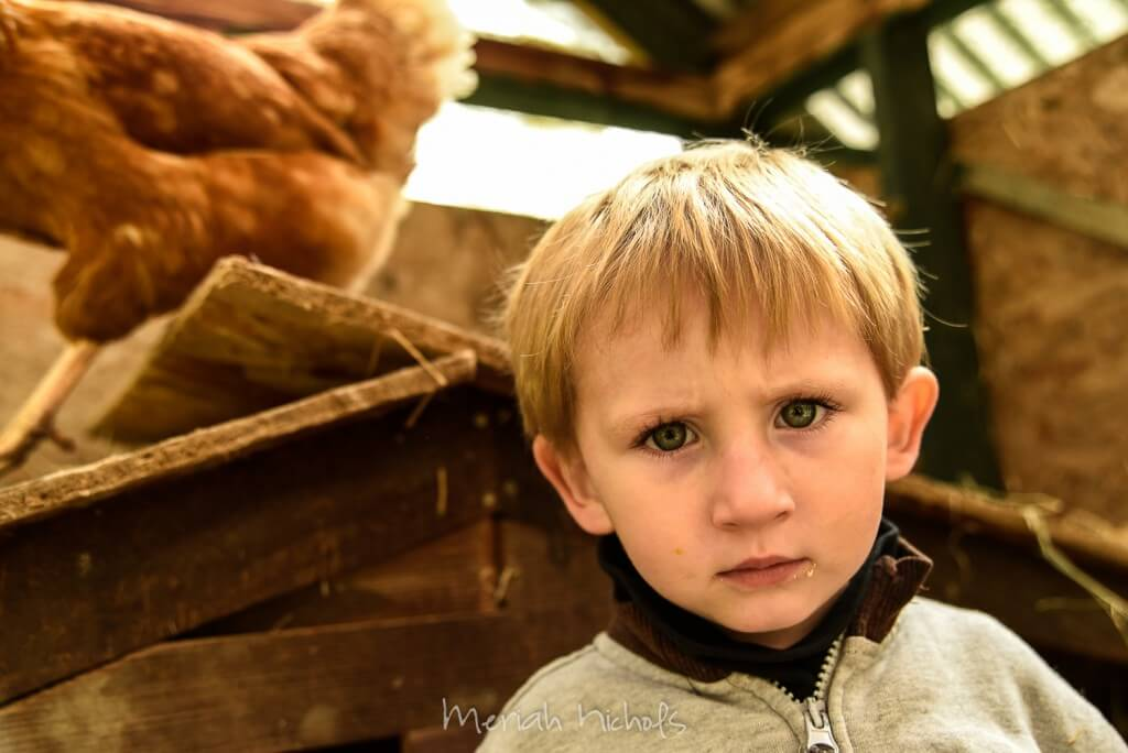 little boy looking at camera, he seems intensely focused on something