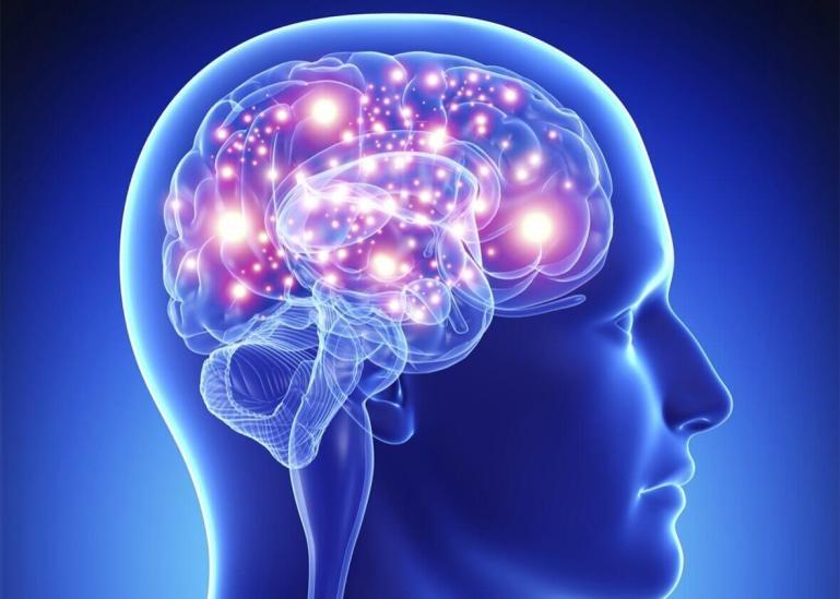 blue lit brain