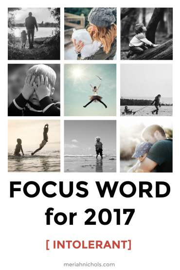 "focus word for 2017: intolerant. image description of an image collage of bright photos, on the bottom reads ""focus word for 2017 [intolerant] meriahnichols.com"
