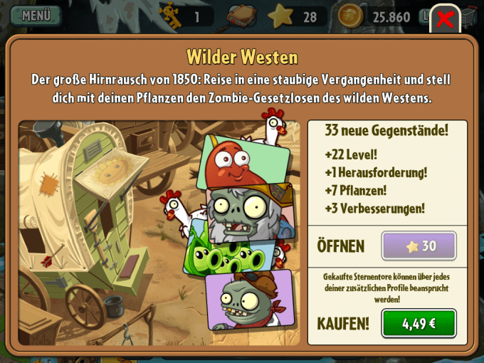 Ich mag Plants vs Zombies 2