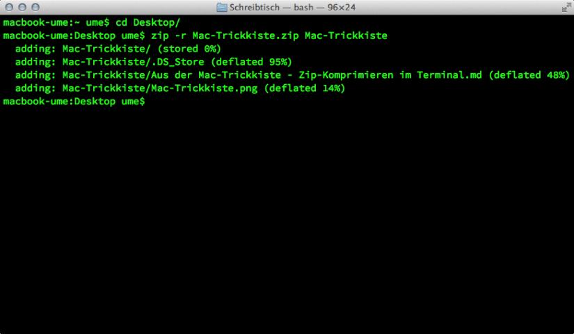 Aus der Mac-Trickkiste: Zip-Komprimieren im Terminal