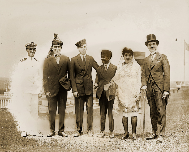 Princess Fatima, her sons and Stanley, the con man, on the left in a Navy uniform.