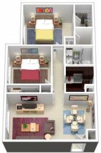 2 Bed / 1½ Bath / 870 sq ft / $675